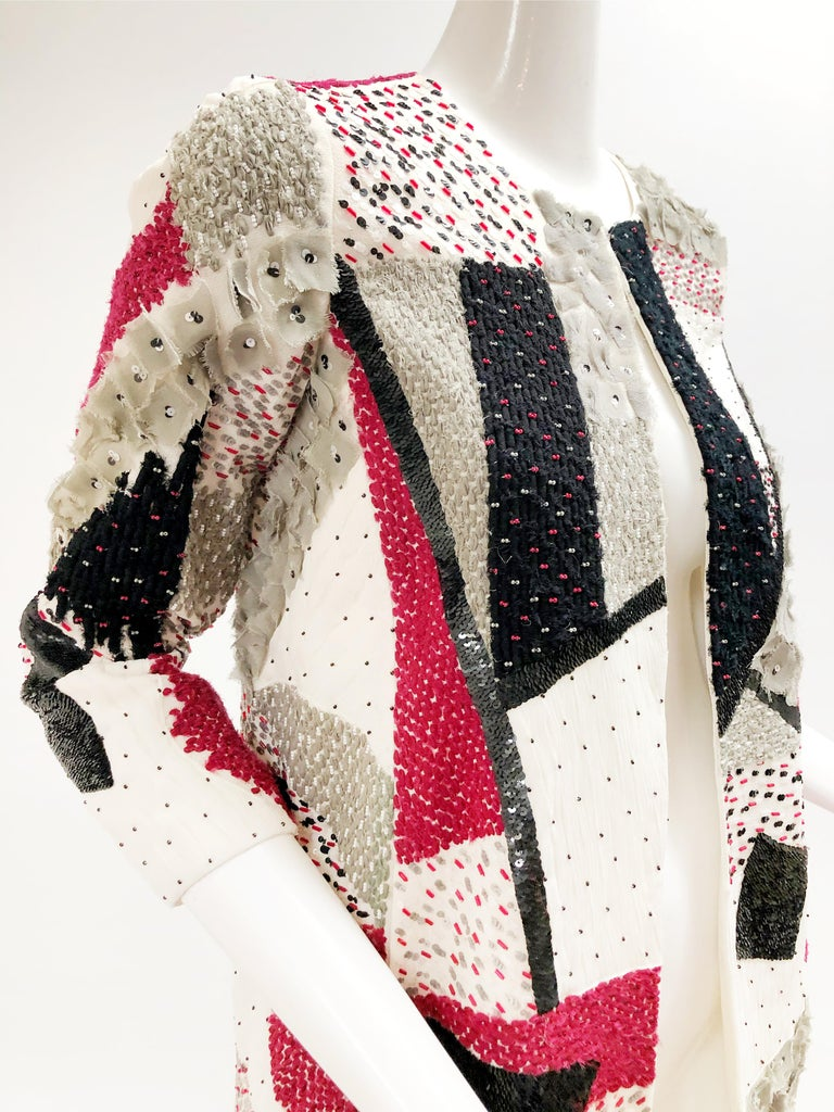 Women's Oscar De La Renta Beaded Red Black & Gray Patchwork Design Jacket w/ Sequins For Sale