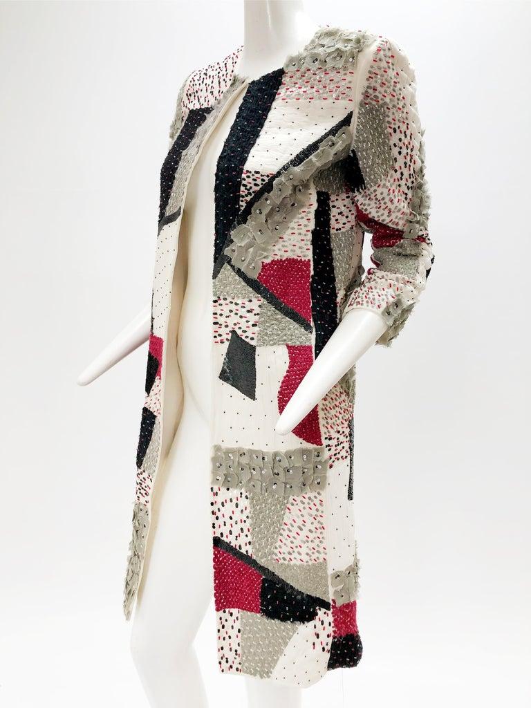 Oscar De La Renta Beaded Red Black & Gray Patchwork Design Jacket w/ Sequins For Sale 1