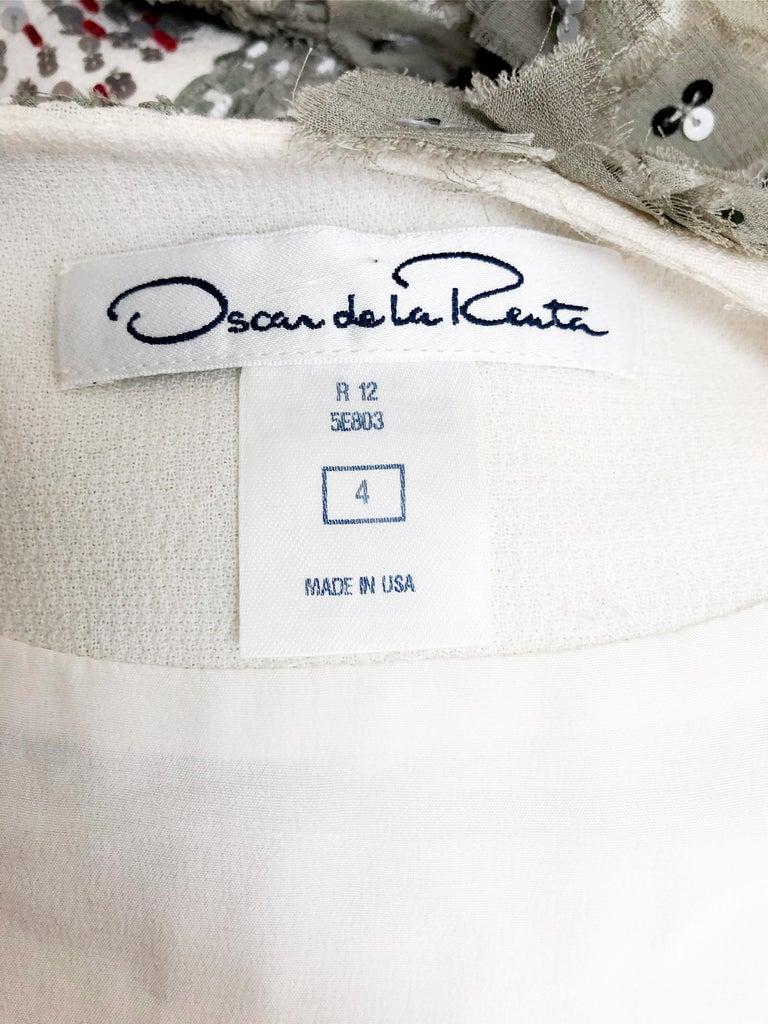 Oscar De La Renta Beaded Red Black & Gray Patchwork Design Jacket w/ Sequins For Sale 2