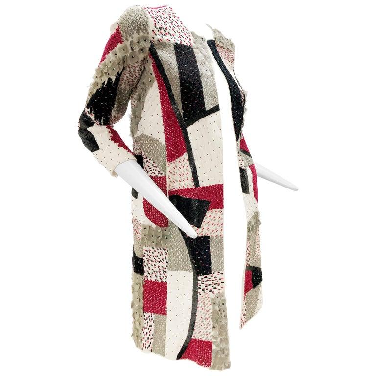 Oscar De La Renta Beaded Red Black & Gray Patchwork Design Jacket w/ Sequins For Sale