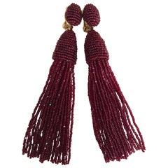Oscar de la Renta Beaded Tassel Shoulder Duster Earrings, Garnet Red
