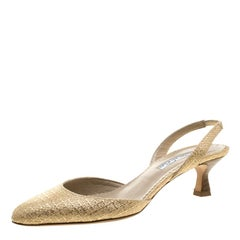 Oscar De La Renta Beige/Gold Jute Samie Slingback Sandals Size 36