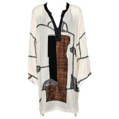 Oscar de la Renta Beige Silk Embroidered Dolman Tunic XL