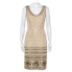 Oscar de la Renta Beige Tweed Sequin Embellished Sleeveless Sheath Dress S