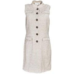 Oscar De La Renta Beige Wool & Silk Blend Sleeveless Dress Sz 10