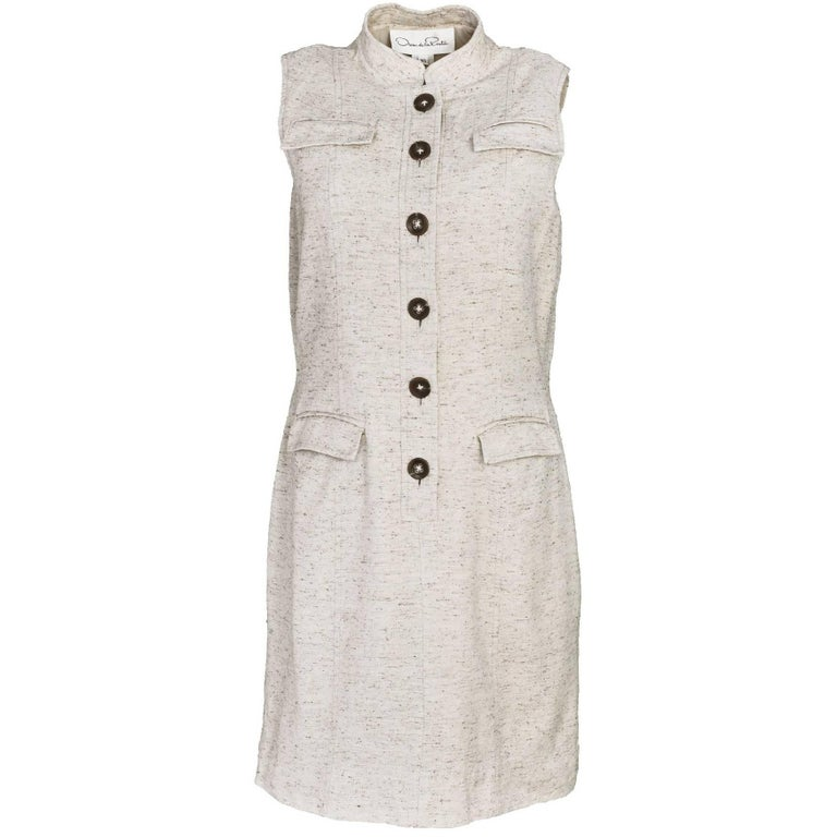 Oscar De La Renta Beige Wool & Silk Blend Sleeveless Dress Sz 10