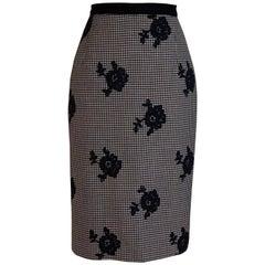 Oscar de la Renta Black and White Check Floral Lace Applique Pencil Skirt