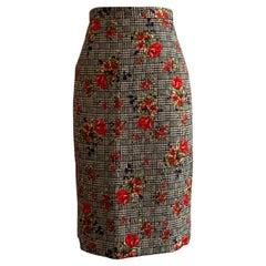 Oscar de la Renta Black and White Plaid Check with Red Floral Pencil Skirt