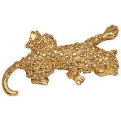 Oscar de la Renta Swarovski Crystal Leopard Brooch Pin, Gold tone