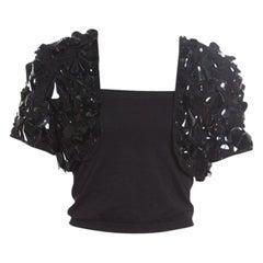 Oscar De La Renta Black Embellished Silk Organza Bolero Jacket L