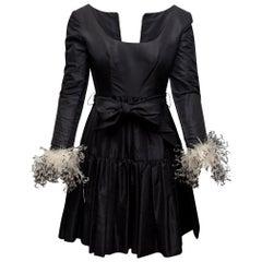 Oscar de la Renta Black Feather-Trimmed Dress