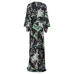 Oscar de la Renta Black Floral Print Silk Draped Maxi Dress L