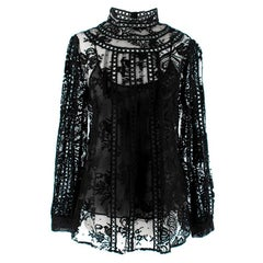 Oscar de la Renta Black Lace Long Sleeve High Neck Blouse - Size US 8