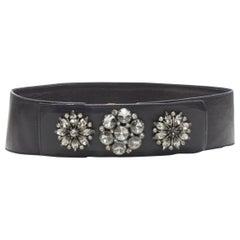 """OSCAR DE LA RENTA black leather strass crystal jewel embellished belt S  27"""""""