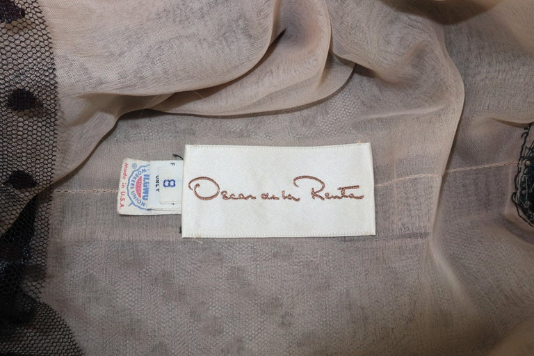 Oscar de La Renta Black Net & Velvet Peplum Peasant Dress, 1980's For Sale 6