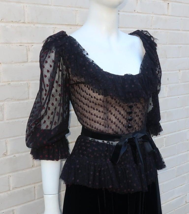 Oscar de La Renta Black Net & Velvet Peplum Peasant Dress, 1980's In Good Condition For Sale In Atlanta, GA