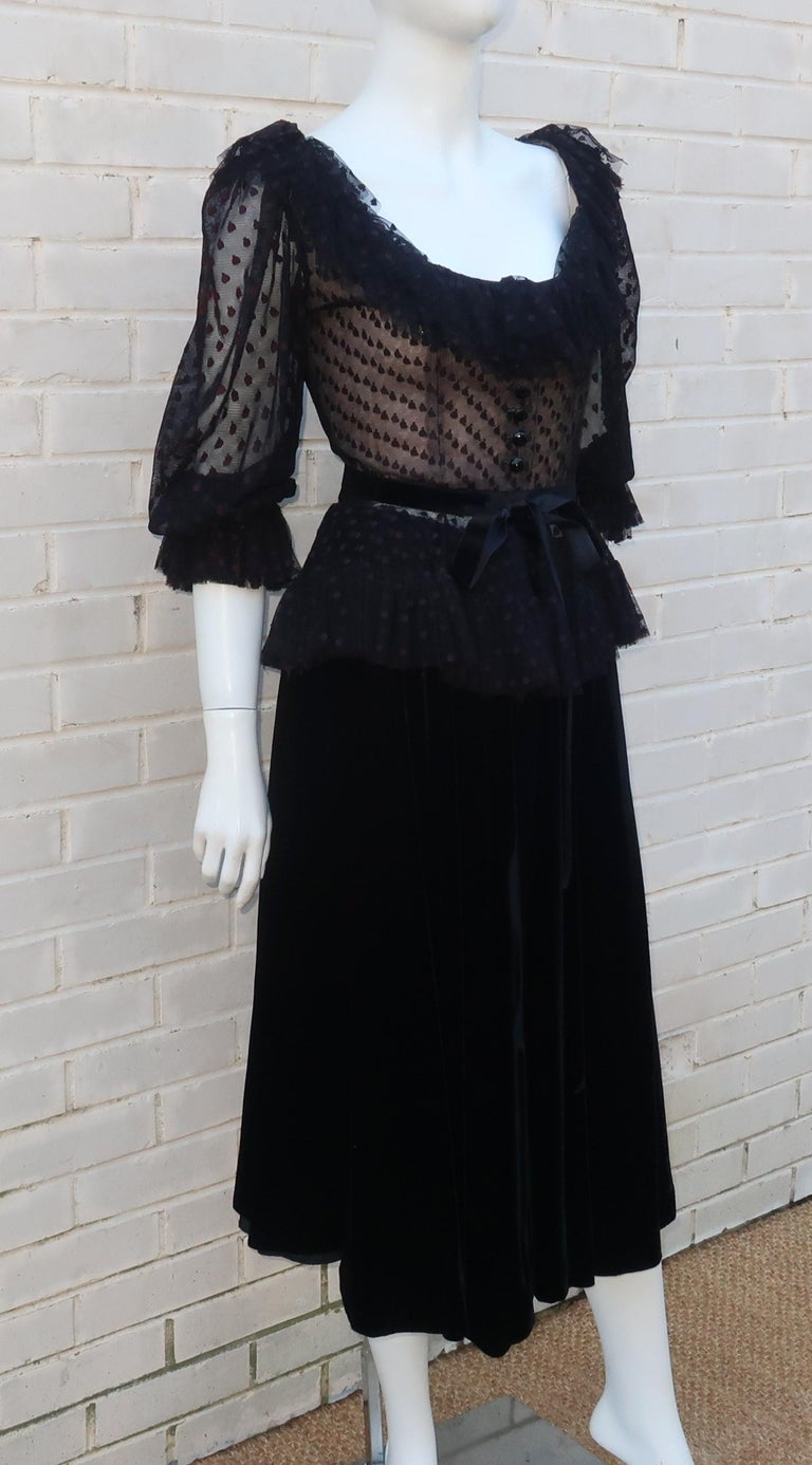 Women's Oscar de La Renta Black Net & Velvet Peplum Peasant Dress, 1980's For Sale