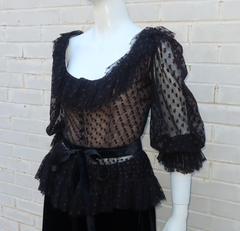 Oscar de La Renta Black Net & Velvet Peplum Peasant Dress, 1980's For Sale 1