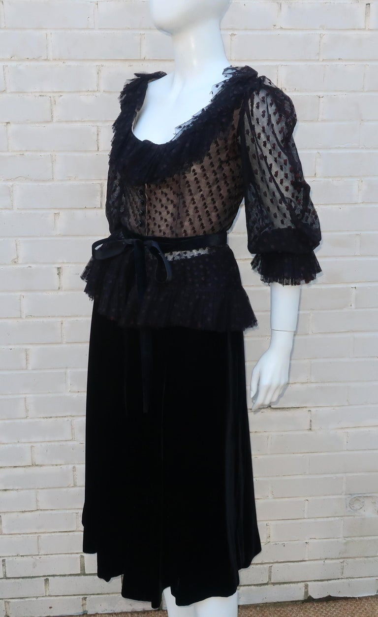 Oscar de La Renta Black Net & Velvet Peplum Peasant Dress, 1980's For Sale 2