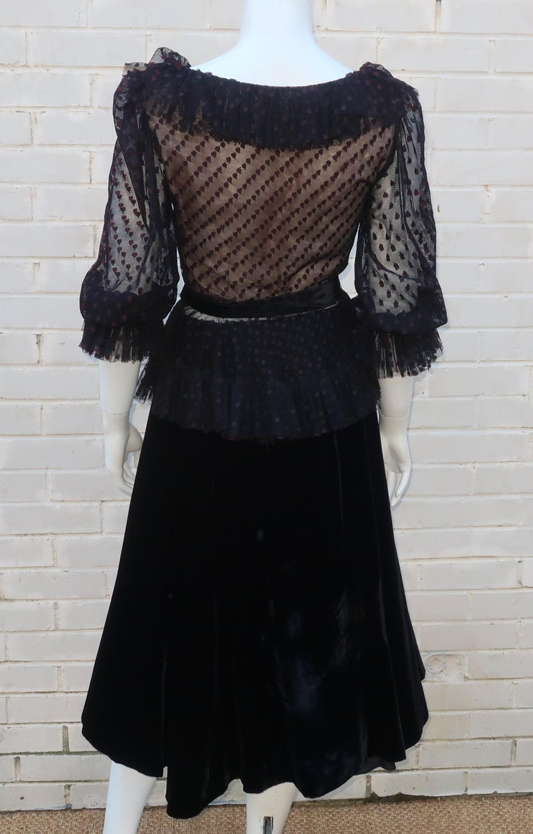 Oscar de La Renta Black Net & Velvet Peplum Peasant Dress, 1980's For Sale 3