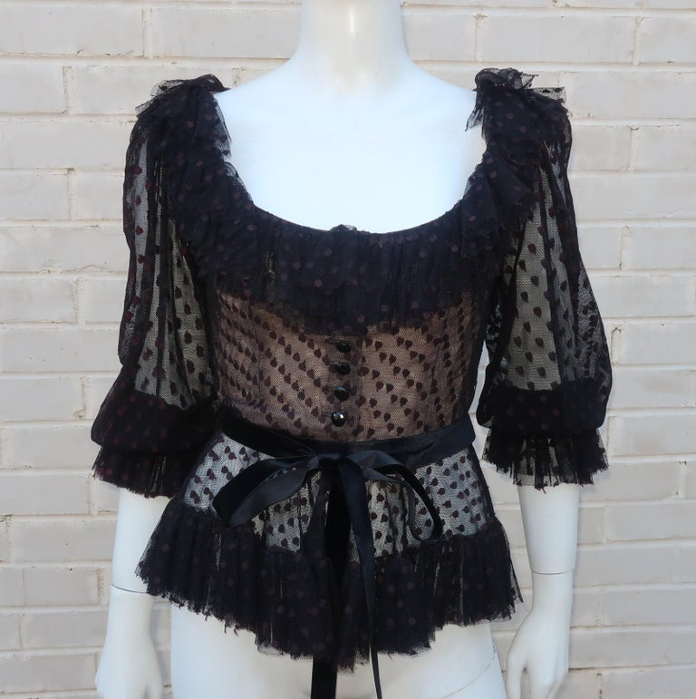 Oscar de La Renta Black Net & Velvet Peplum Peasant Dress, 1980's For Sale 4