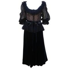 Oscar de La Renta Black Net & Velvet Peplum Peasant Dress, 1980's