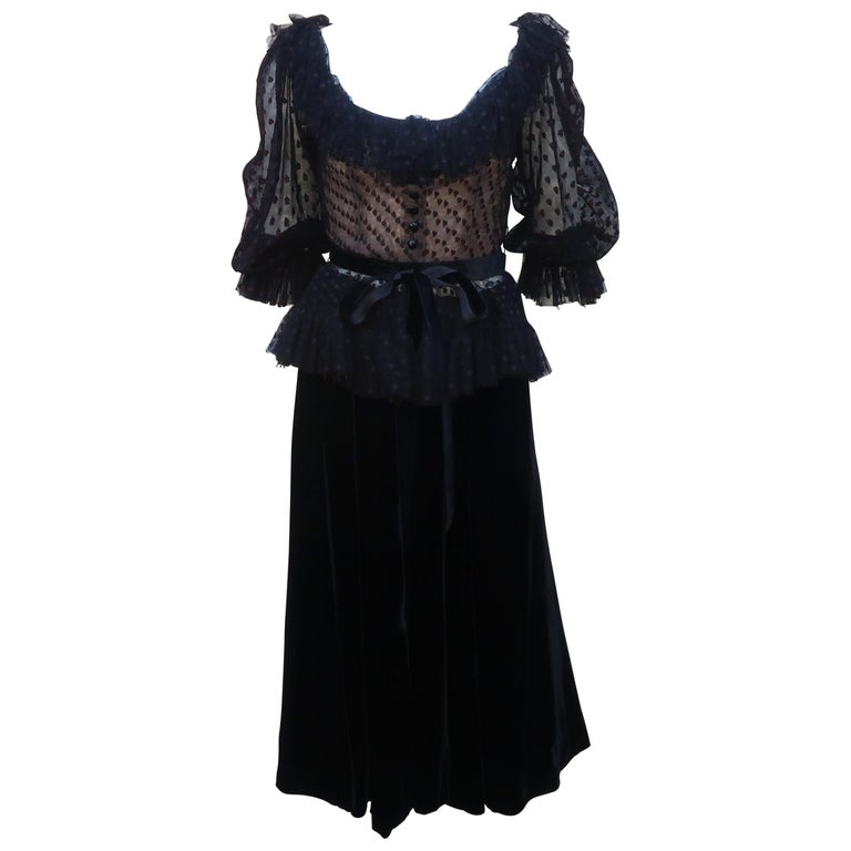 Oscar de La Renta Black Net & Velvet Peplum Peasant Dress, 1980's For Sale
