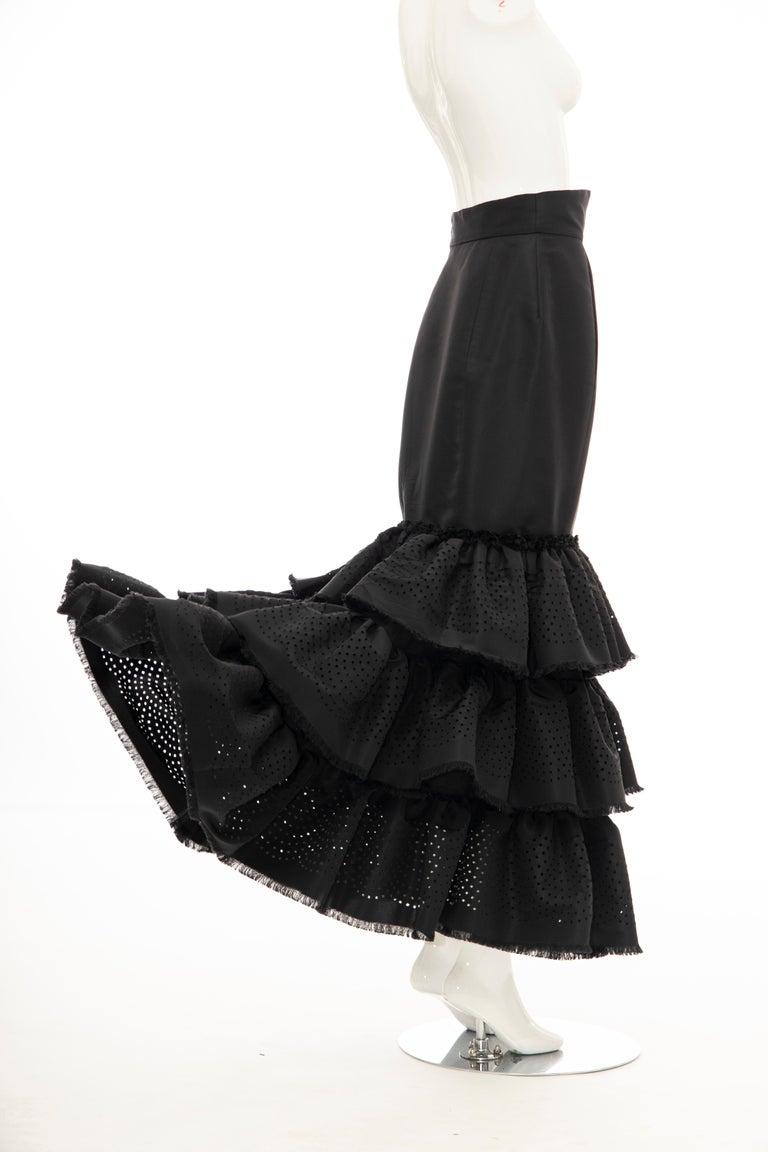 Oscar de la Renta Black Punched Silk Faille Evening Skirt, Fall 2001 For Sale 6