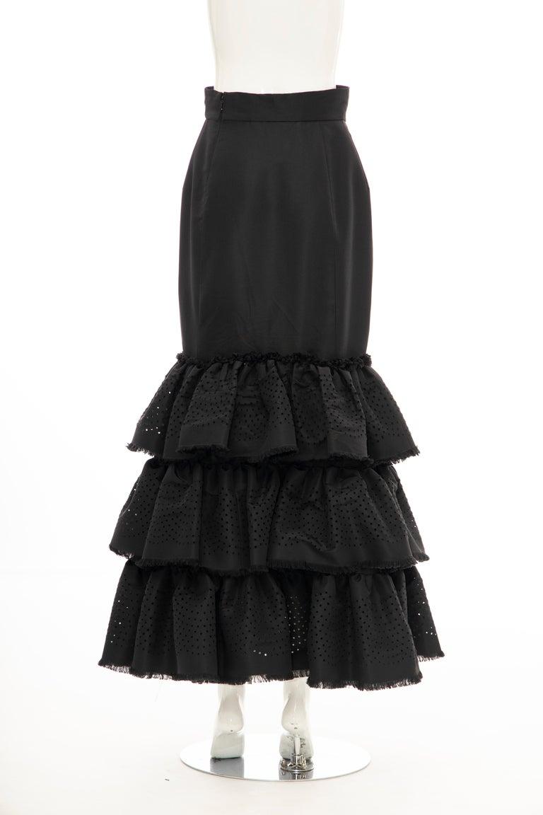 Oscar de la Renta Black Punched Silk Faille Evening Skirt, Fall 2001 For Sale 7