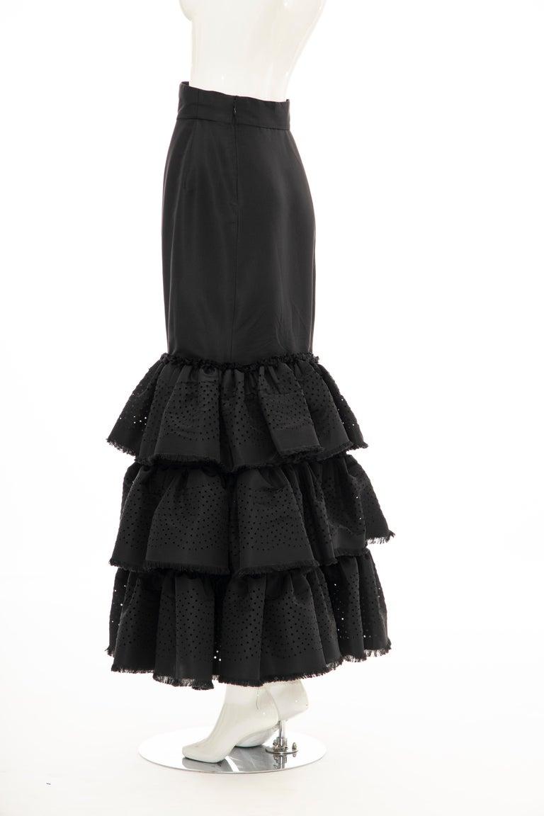 Oscar de la Renta Black Punched Silk Faille Evening Skirt, Fall 2001 For Sale 8