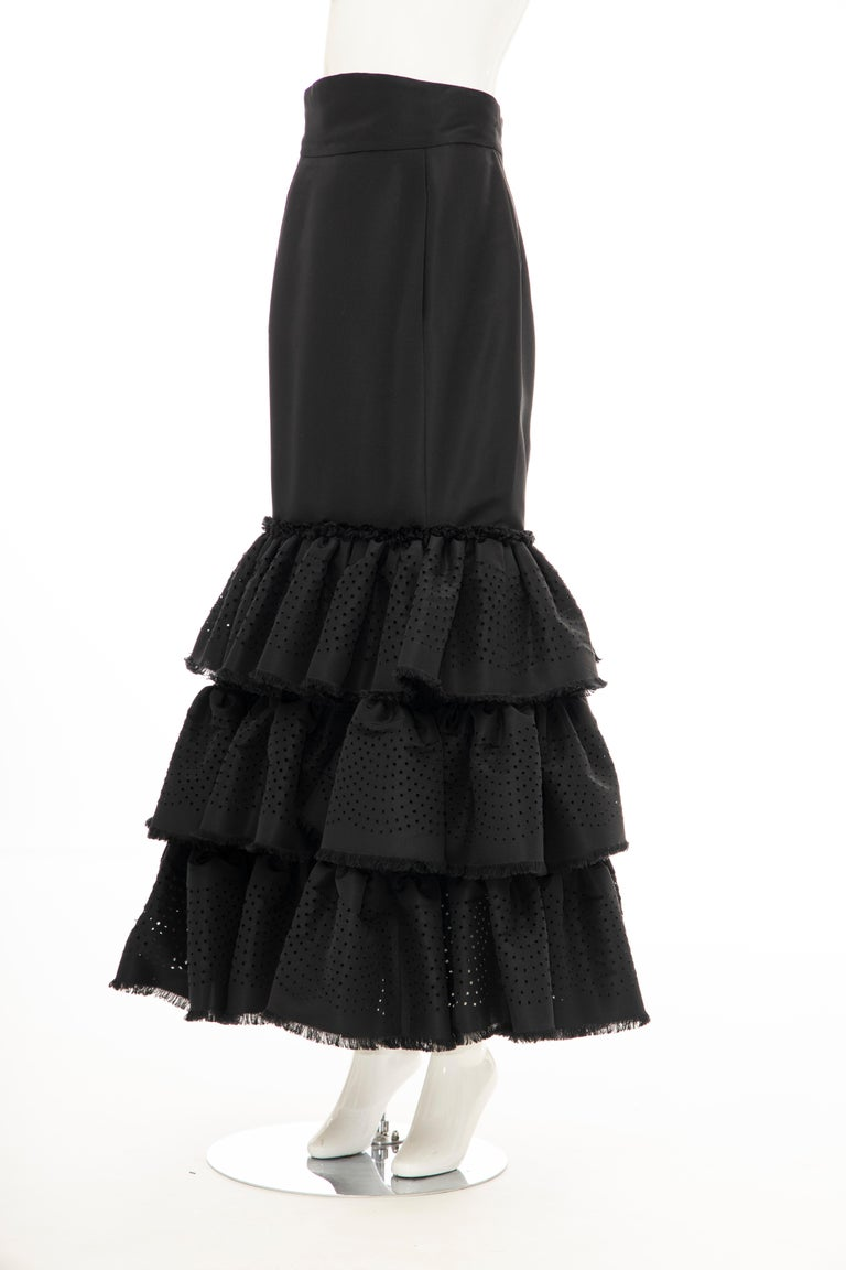 Oscar de la Renta Black Punched Silk Faille Evening Skirt, Fall 2001 For Sale 9