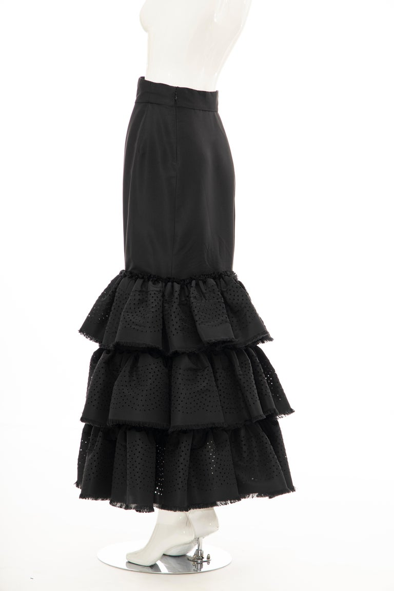 Oscar de la Renta, Fall 2001 black punched silk faille evening skirt with back zip closure.  Documented: Oscar de la Renta