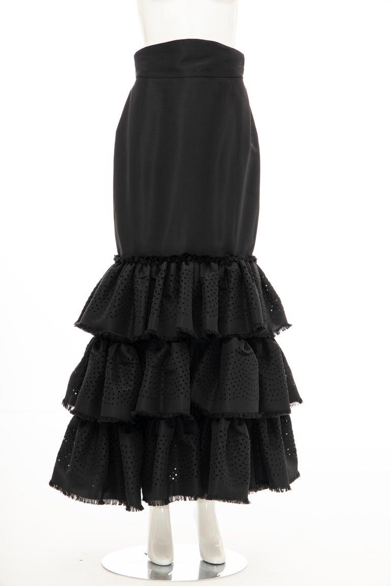 Oscar de la Renta Black Punched Silk Faille Evening Skirt, Fall 2001 For Sale 1