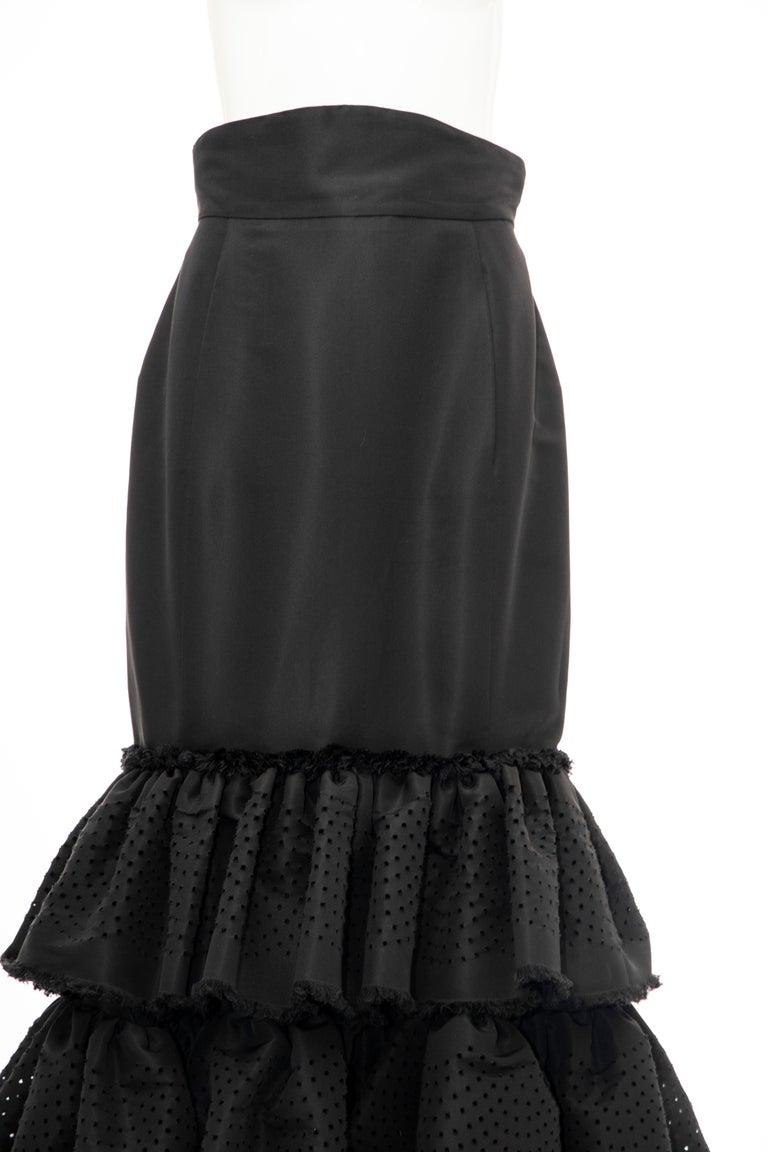 Oscar de la Renta Black Punched Silk Faille Evening Skirt, Fall 2001 For Sale 2
