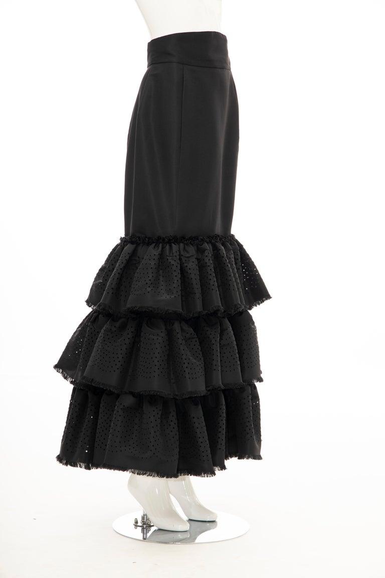 Oscar de la Renta Black Punched Silk Faille Evening Skirt, Fall 2001 For Sale 3