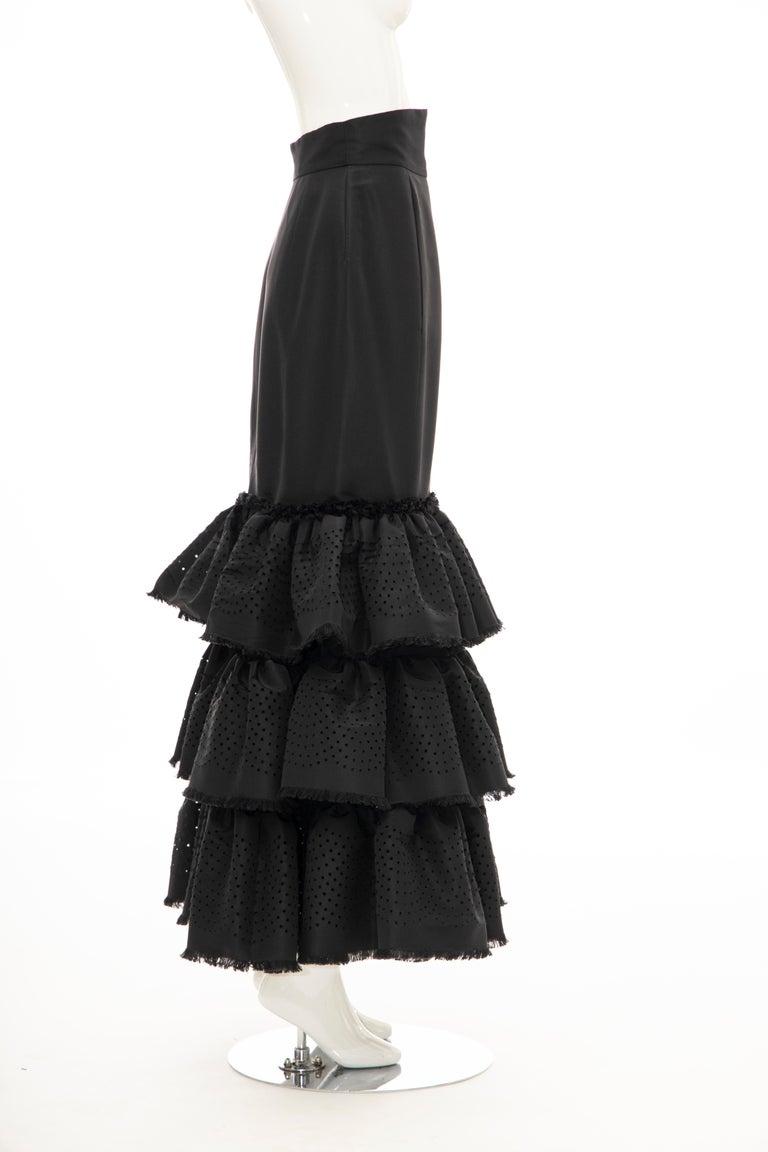 Oscar de la Renta Black Punched Silk Faille Evening Skirt, Fall 2001 For Sale 4