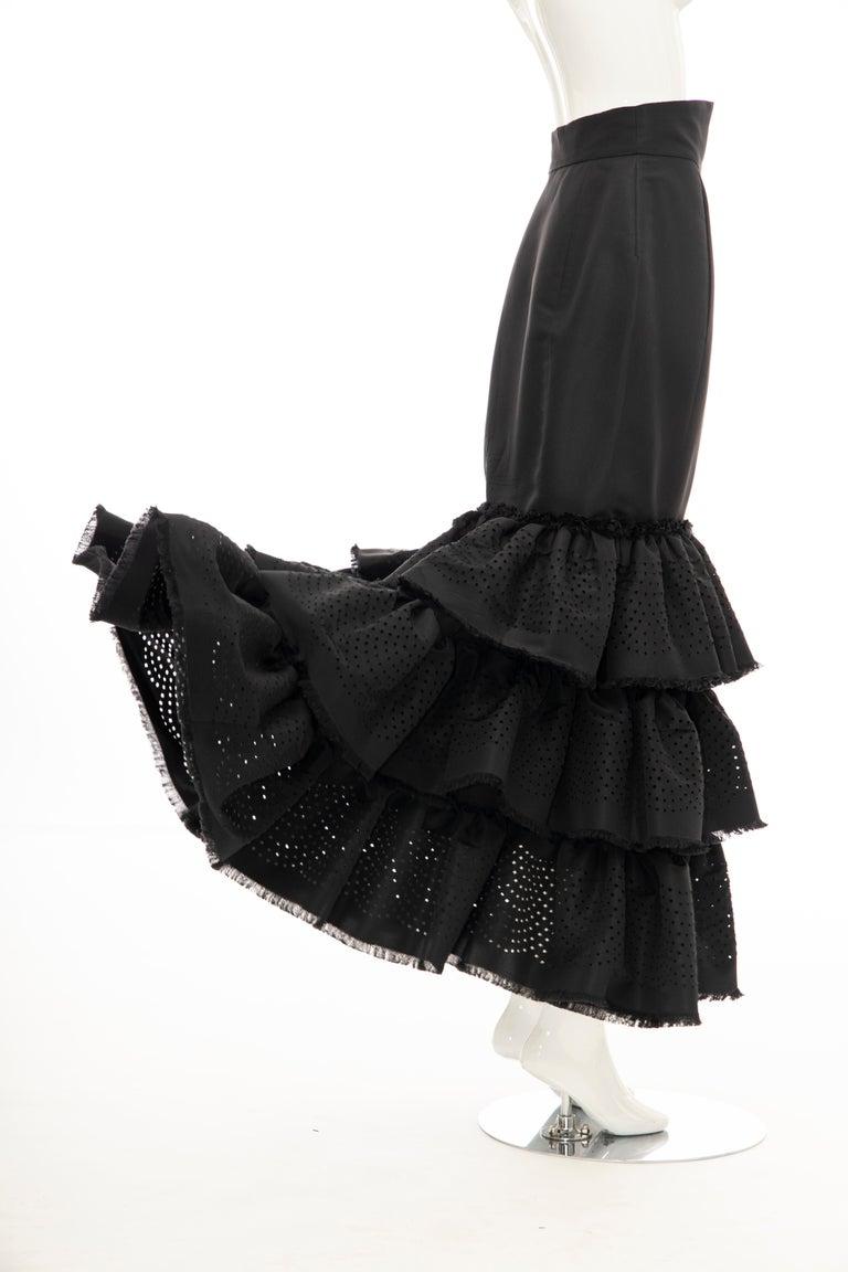 Oscar de la Renta Black Punched Silk Faille Evening Skirt, Fall 2001 For Sale 5