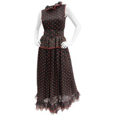 Oscar de La Renta Black & Red Polka Dot Organza Ruffle Trim Maxi Dress Gown