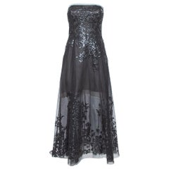 Oscar de la Renta Black Sequin Embellished Mesh Strapless Midi Dress S