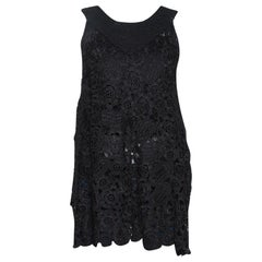 Oscar de la Renta Black Silk Crochet Knit Sleeveless Top S