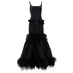 Oscar de La Renta Black Silk Faille Embroidered Feathers Evening Dress,Fall 2004