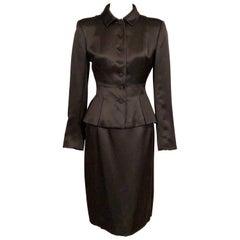 Oscar de la Renta Black Silk Satin Skirt Suit with Pleated Peplum