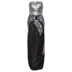 Oscar de la Renta Black Silk Sequin Embellished Strapless Gown L