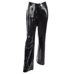 Oscar de la Renta Black Silk Sequin Evening Pants Size 10
