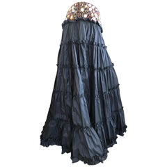 Oscar de la Renta Black Taffeta Silk Peasant Skirt with Jewel Hips