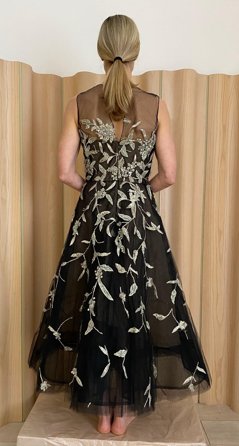 Women's Oscar De La Renta Black Tulle Dress with Embroidery  For Sale
