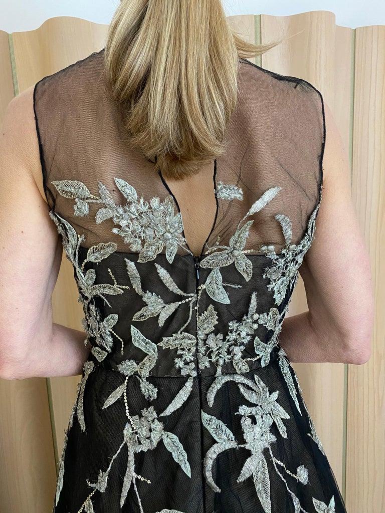 Oscar De La Renta Black Tulle Dress with Embroidery  For Sale 1