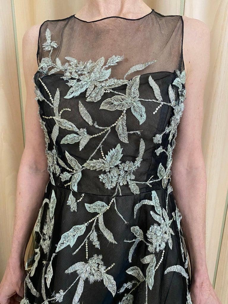 Oscar De La Renta Black Tulle Dress with Embroidery  For Sale 2