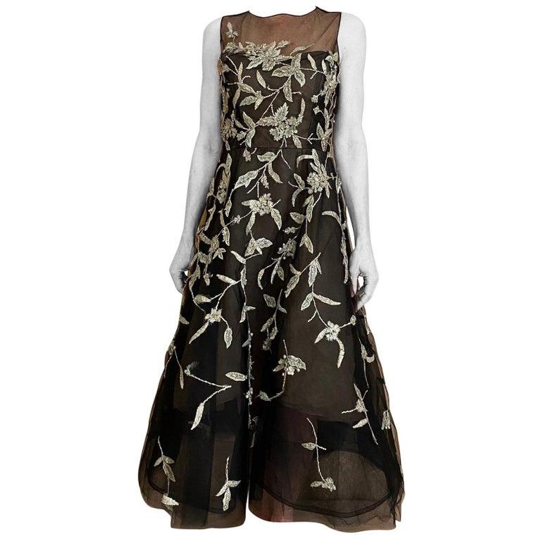 Oscar De La Renta Black Tulle Dress with Embroidery  For Sale