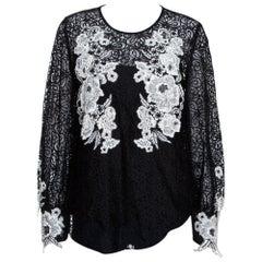 Oscar de la Renta Black & White Floral Lace Long Sleeve Blouse L
